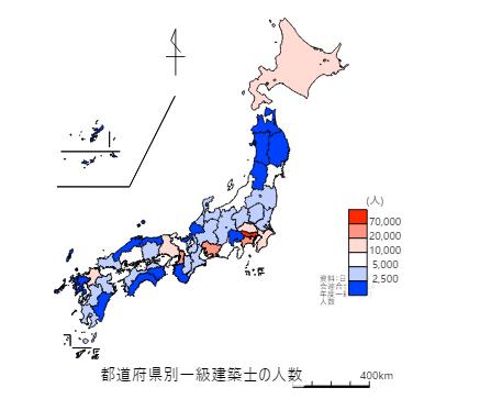全国の都道府県別一級建築士の人数
