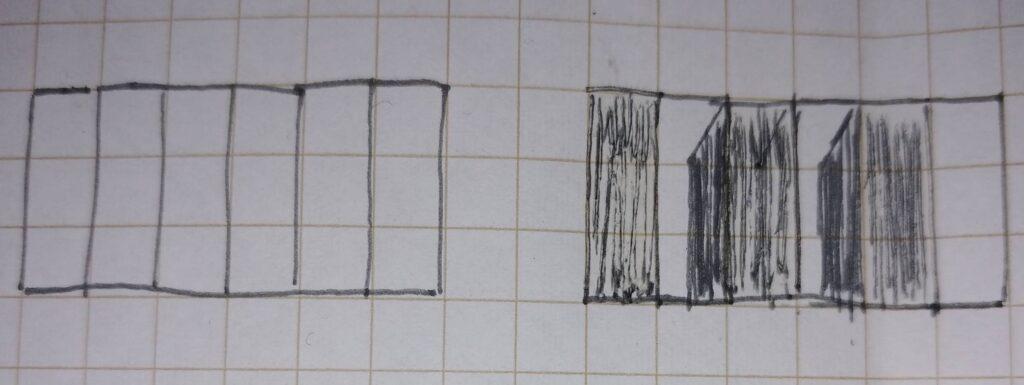 立面図雁木形状への影の付け方