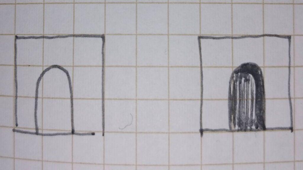 立面図トンネル型ファサードへの影の付け方