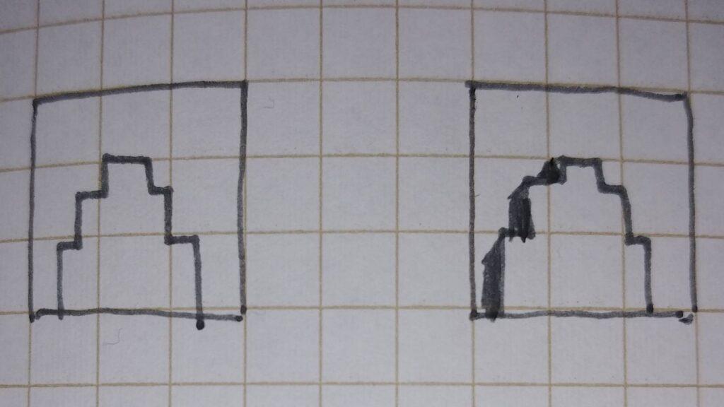 立面図凸ファサードへの影の付け方