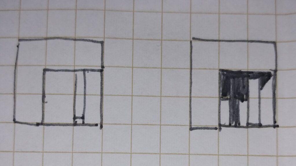 立面図ピロティへの影の付け方