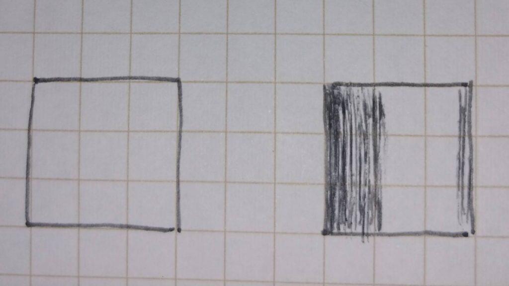 立面図円柱への影の付け方