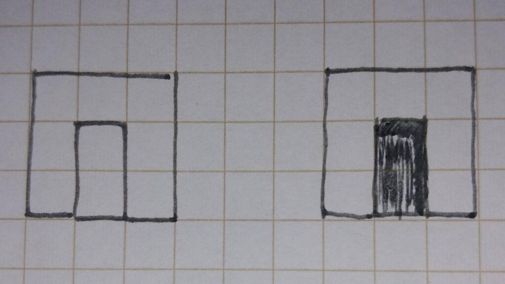 立面図アルコーブへの影の付け方