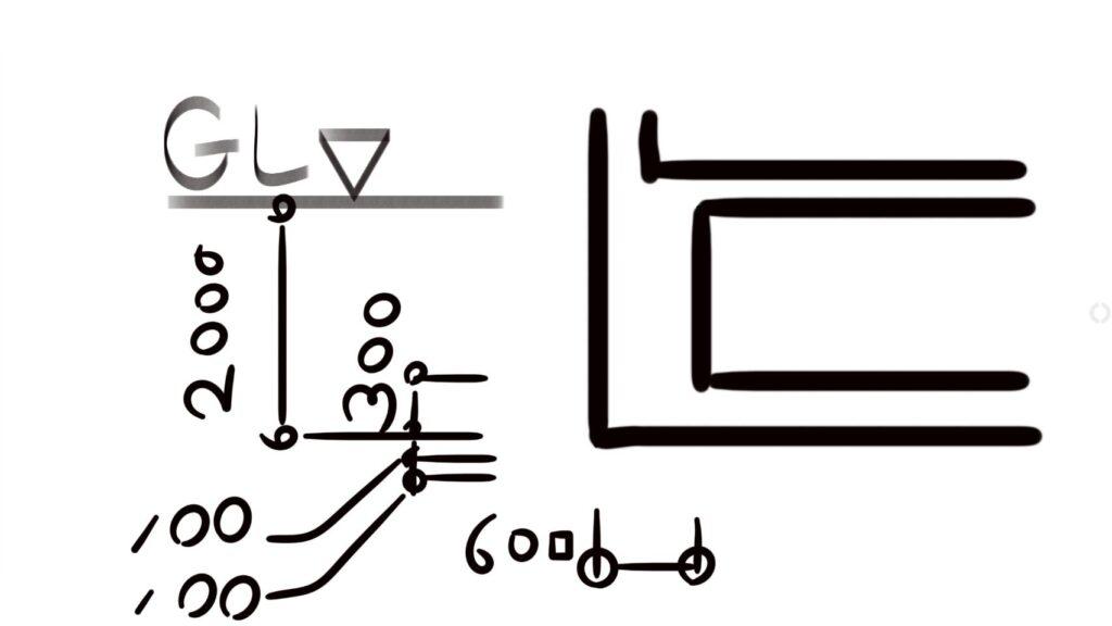 ベタ基礎の断面図の書き方