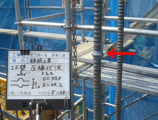 鉄筋工事の圧接継手 引用:三和建設